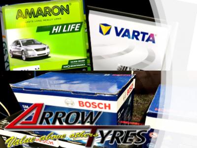 car workshop selling different car batteries